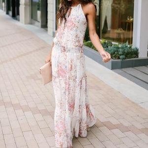 NWT Lovestitch Floral Smocked Prairie Maxi Dress